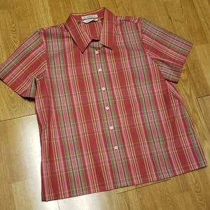 Orvis short sleeve pink plaid button front shirt